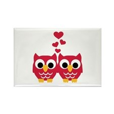 Red owls hearts Rectangle Magnet