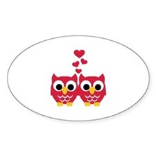 Red owls hearts Decal