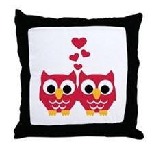 Red owls hearts Throw Pillow