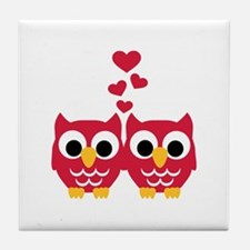 Red owls hearts Tile Coaster