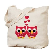 Red owls hearts Tote Bag
