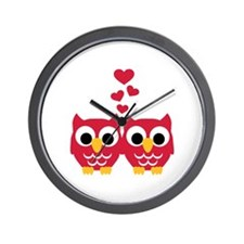 Red owls hearts Wall Clock