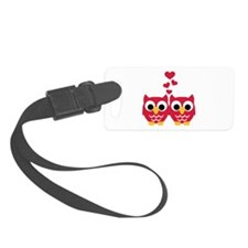 Red owls hearts Luggage Tag
