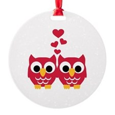 Red owls hearts Ornament
