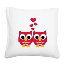 Red owls hearts Square Canvas Pillow
