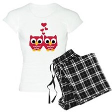 Red owls hearts pajamas