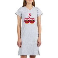 Red owls hearts Women's Nightshirt