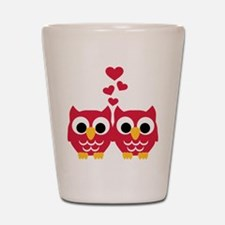 Red owls hearts Shot Glass