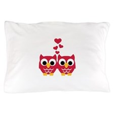 Red owls hearts Pillow Case