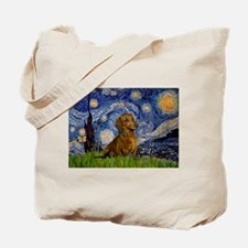 Starry / Dachshund Tote Bag