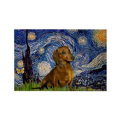 Starry / Dachshund Rectangle Magnet