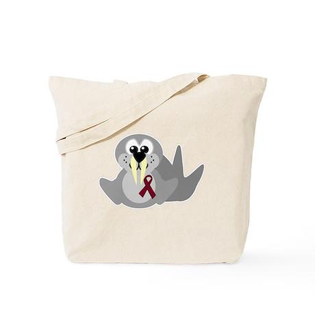 Burgundy Awareness Ribbon Walrus Tote Bag