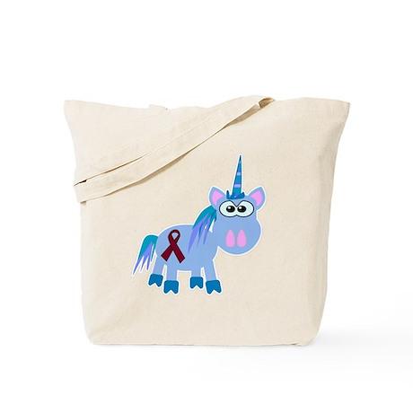 Burgundy Awareness Ribbon Unicorn Tote Bag