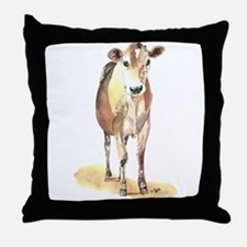 Cow brown Throw Pillow