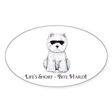 Life's Westie Too Oval Decal