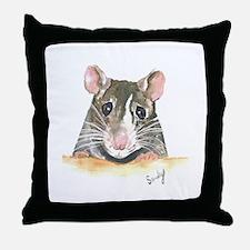 Rat face Throw Pillow