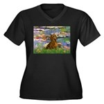 Lilies & Dachshund Women's Plus Size V-Neck Dark T