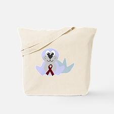 Burgundy Awareness Ribbon Seal Tote Bag