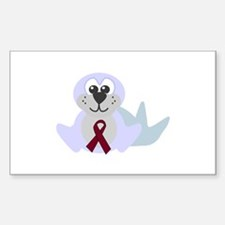 Burgundy Awareness Ribbon Seal Sticker (Rectangula