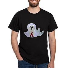 Burgundy Awareness Ribbon Seal T-Shirt