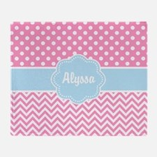 Pink Blue Dots Chevron Personalized Throw Blanket