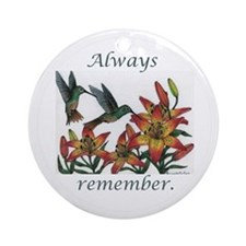 Always remember - hummer with daylillies on white