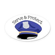 Serve & Protect Oval Car Magnet