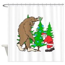 Bigfoot, Santa Christmas Shower Curtain