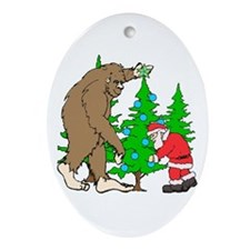 Bigfoot, Santa Christmas Ornament (Oval)