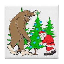 Bigfoot, Santa Christmas Tile Coaster