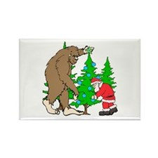 Bigfoot, Santa Christmas Rectangle Magnet