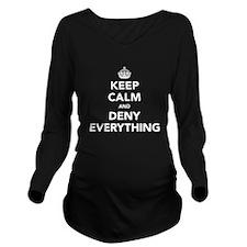 Keep Calm And Deny E Long Sleeve Maternity T-Shirt