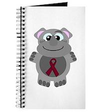 Burgundy Awareness Ribbon Hippo Journal