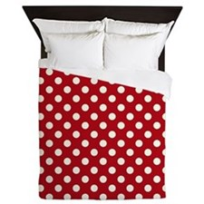 Queen Duvet, Red And White Polka Dots.