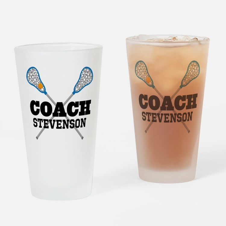 Lacrosse Coach Personalized Drinking Glass