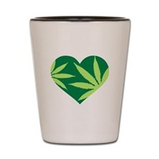 Marijuana heart Shot Glass