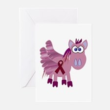 Burgundy Awareness Ribbon Pegasus Greeting Cards (