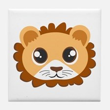 Cute Cartoon Lion Head Tile Coaster