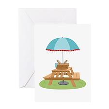 Picnic Table Umbrella Greeting Cards