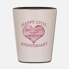 15th. Anniversary  Shot Glass