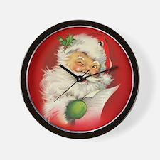Vintage Christmas Santa Claus Wall Clock