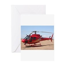 Helicopter, red Greeting Cards