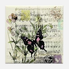 Pansies and music Tile Coaster