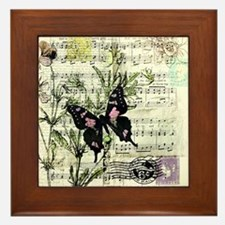 Pansies and music Framed Tile