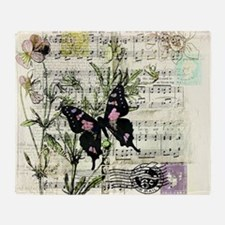 Pansies and music Throw Blanket