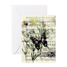 Pansies and music Greeting Cards