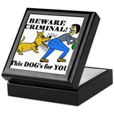BEWARE CRIMINAL! THIS DOG'S F Keepsake Box