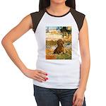 Garden (VG) & Dachshund Women's Cap Sleeve T-Shirt
