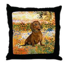 Garden (VG) & Dachshund Throw Pillow