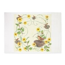 House wren and Bush sunflowers with ornament 5'x7'
